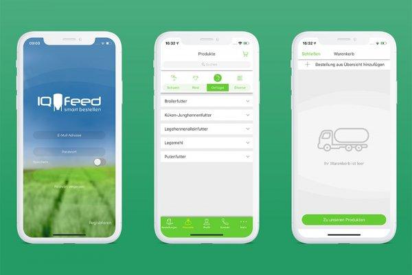 3 Smartphone Screenshots der Agravis IQ-Feed App, Anmeldemaske, Produktsuche und Warenkorb