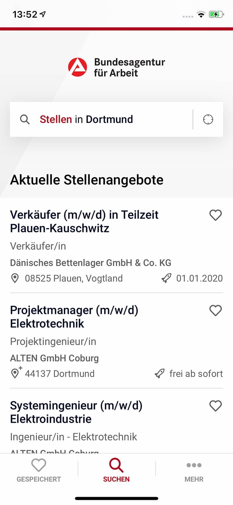 Screenshot Bundesagentur für Arbeit App, Karte Kassierer in Deutschland, Stellen in Dortmund