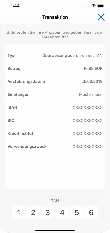 Screenshot Augsburger Aktienbank-App, Transaktionen, Überprüfung der Daten