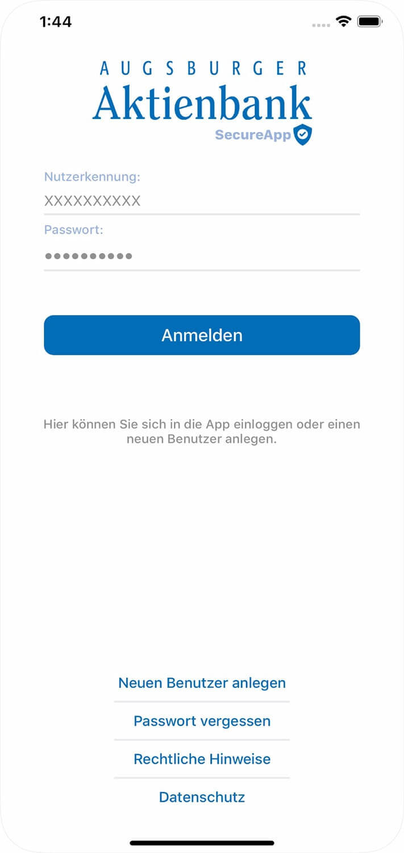 Screenshot Augsburger Aktienbank-App, Anmeldemaske