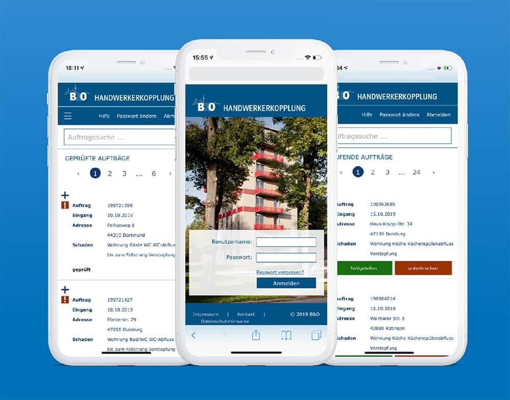 3 Smartphone Screenshots der B&O Auftragsvergabe- und -verwaltungsapp zeigen Auftragssuche, laufende Aufträge und Anmeldemaske
