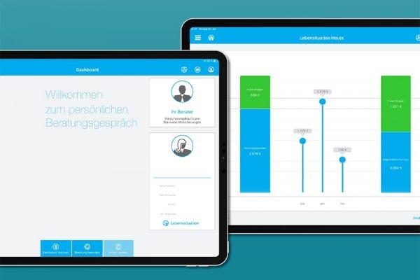 2 iPad Screenshots der Barmenia LebensChecker-App zeigen das Dashboard und die Lebenssituation