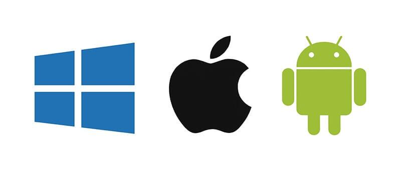 Logos Windows, Apple und Android im Rahmen der nativen, hybriden, Crooss-Plattform und Web-Apps