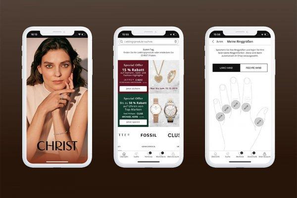 3 Smartphone Screenshots der CHRIST Shopping-App zeigen Ringgrößen, Startbild und Produktsuche