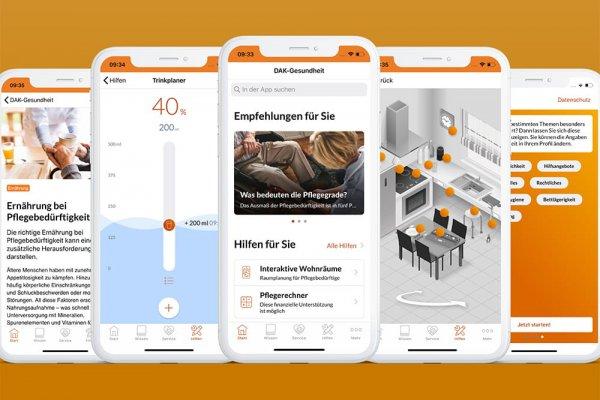5 Smartphone Screenshots der DAK-Gesundheit-App zeigen Trinkplaner, Empfehlungen, Beiträge, Hilfen und Rechtliches