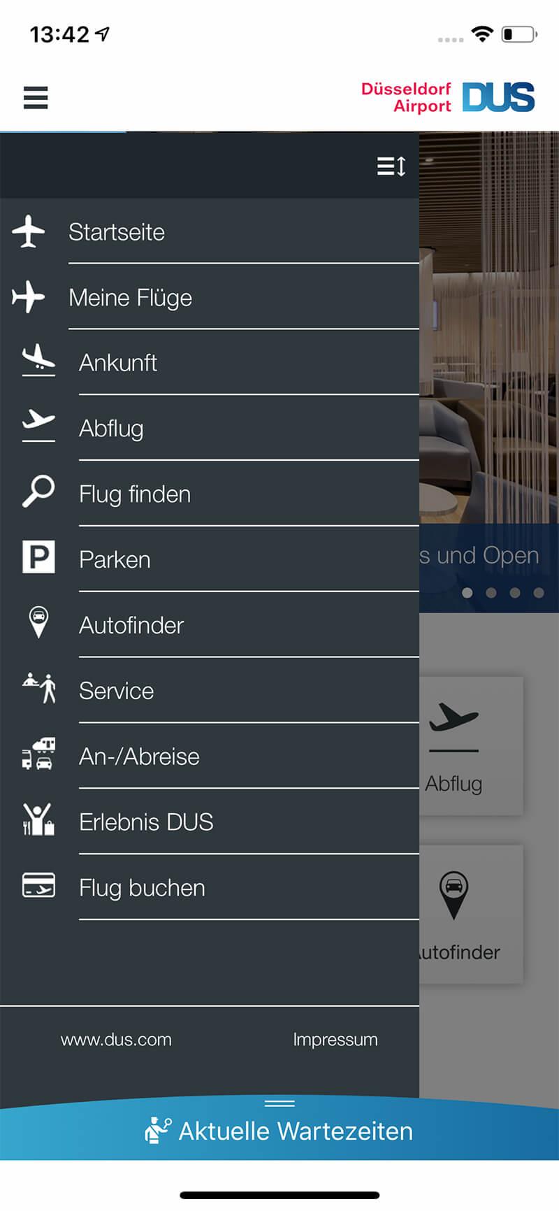 Screenshot DUS-App, Navigation