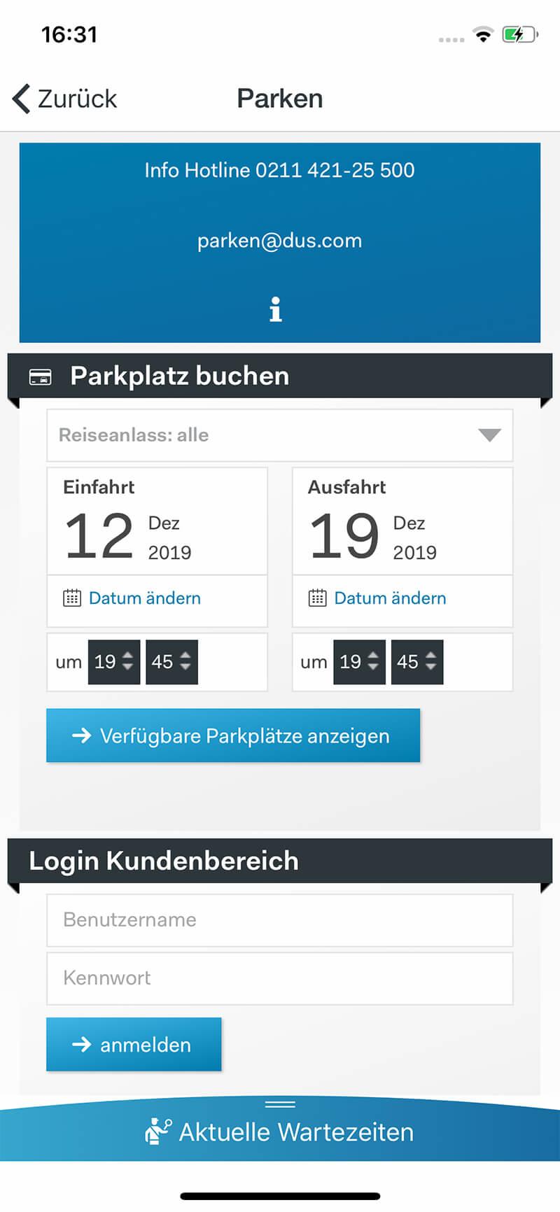 Screenshot DUS-App, Parken