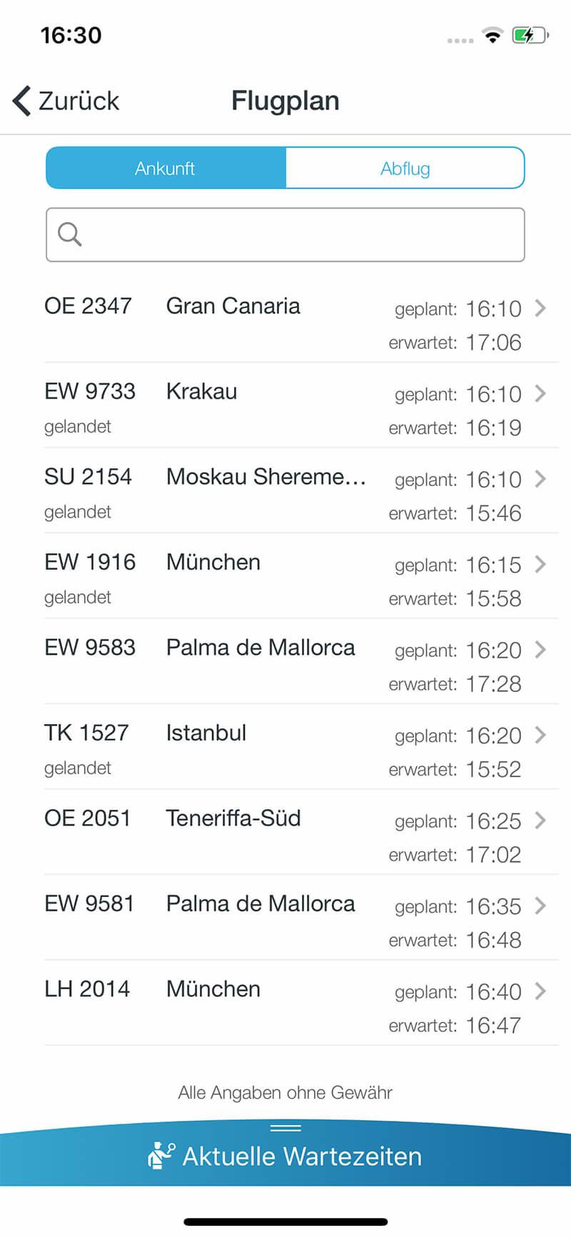 Screenshot DUS-App, Flugplan