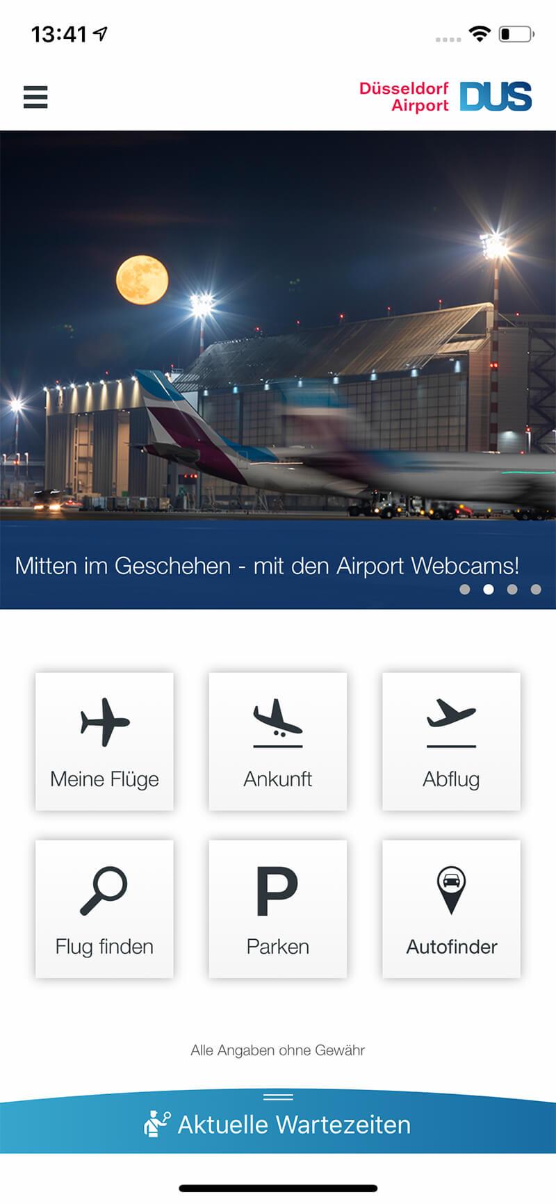 Screenshot DUS-App, Navigation, Startseite