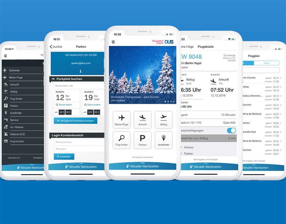 5 Smartphone Screenshots der DUS-App zeigen Flüge, Parken, Navigation, Flugplan und Startseite