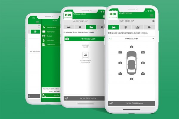 3 Smartphone Screenshots der HDI hilft-App, Fahrzeugdaten, Foto hochladen und Hauptmenü