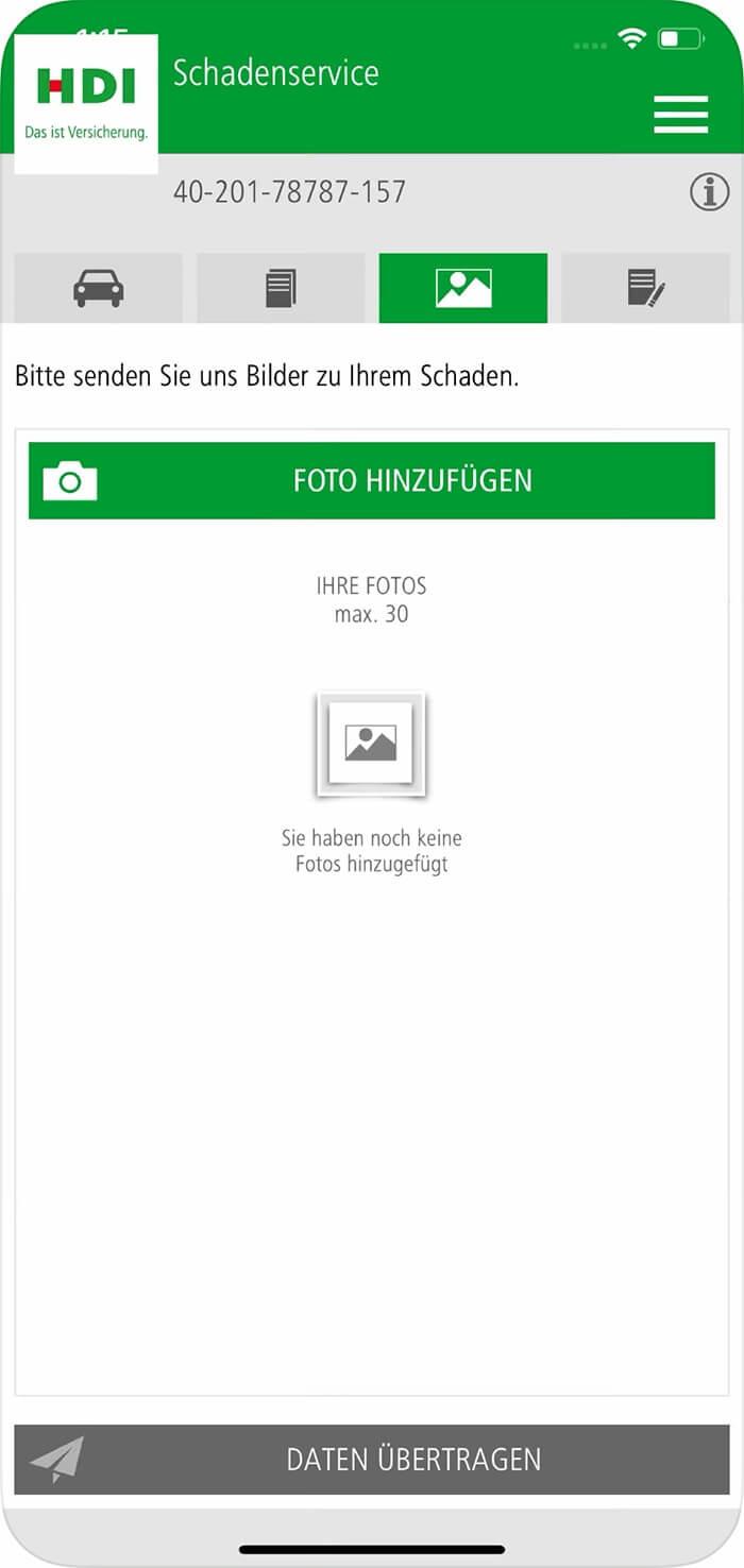 Screenshot HDI hilft App, Foto hochladen