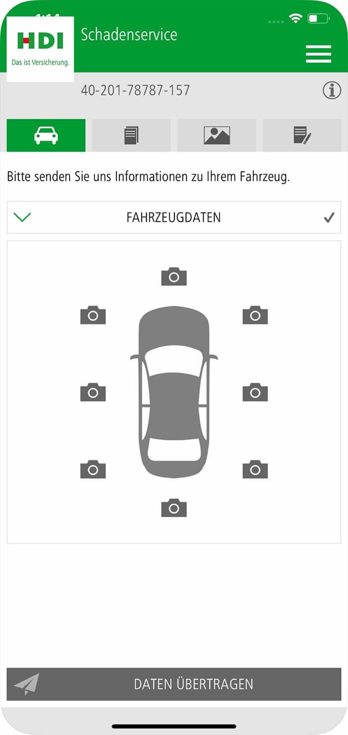Screenshot HDI hilft App, Fahrzeugdaten