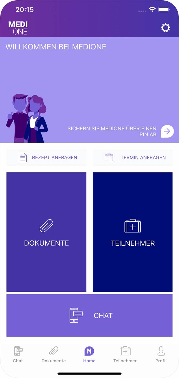 Screenshot MediOne-App, Startseite