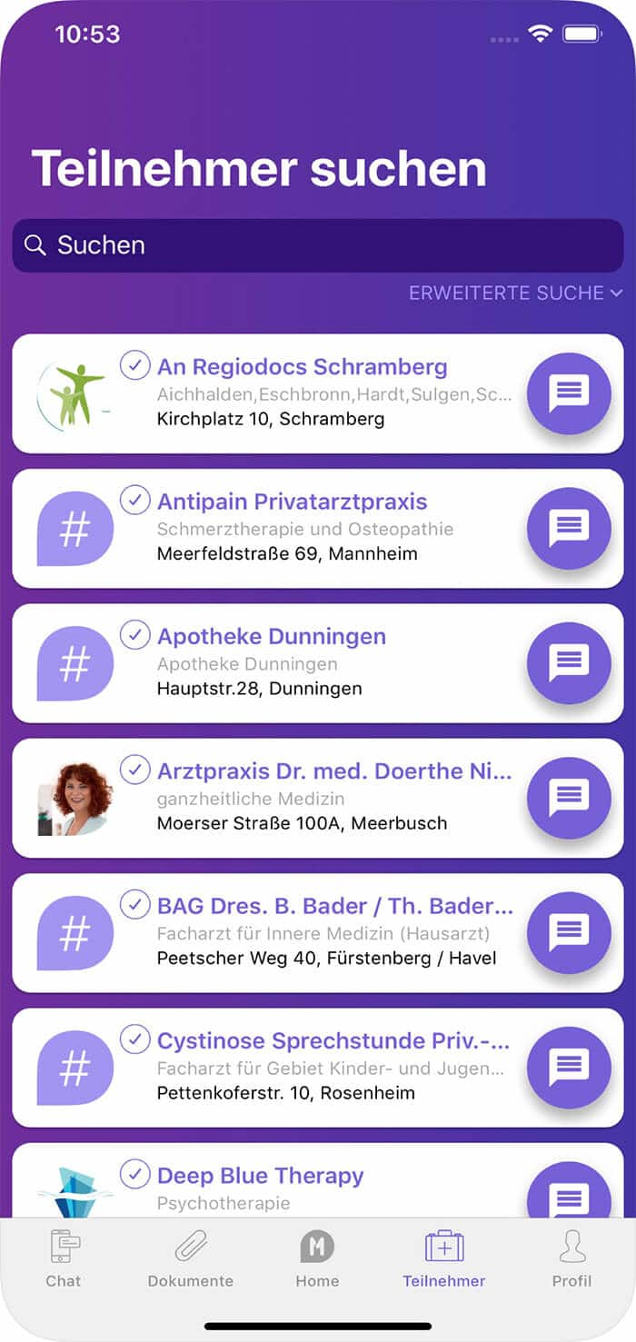 Screenshot MediOne-App, Teilnehmer