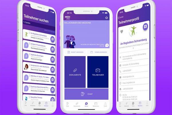 3 Smartphone Screenshots der MediOne e-Health-App zeigen Profil, Teilnehmersuche und Hauptmenü
