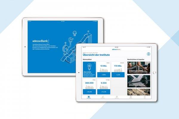 Zwei Tablets mit Screenshots einer Anwendung im Bereich Mobile Performance Information System