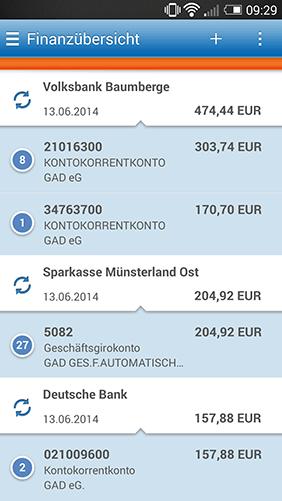Screenshot Online-Filiale+ App, Finanzübersicht
