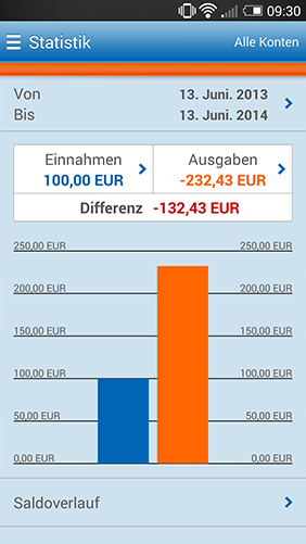 Screenshot Online-Filiale+ App, Statistik