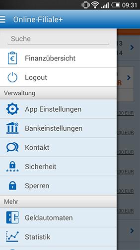 Screenshot Online-Filiale+ App, Hauptmenü