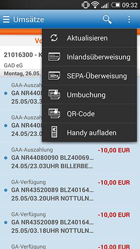 Screenshot Online-Filiale+ App, Auflistung Umsätze mit Fuunktionsliste