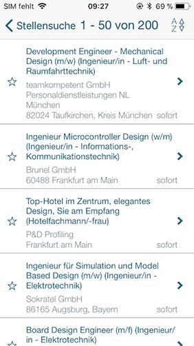 Screenshot zu Jobbörse App