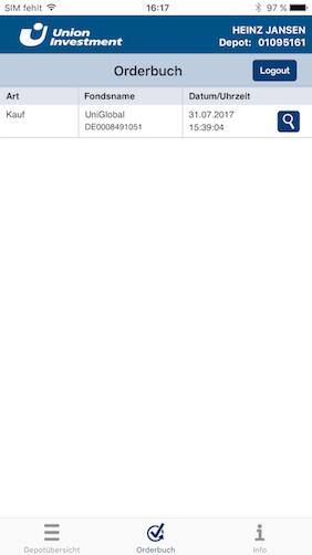 Screenshot zu UnionFondsOnline App