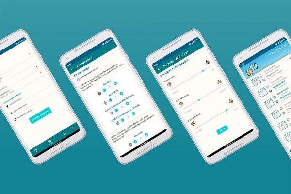 4 Smartphone Screenshots der Steady-App zeigen Morgenprotokoll, Aufgaben, Alkoholkonsum, Aktivitäten