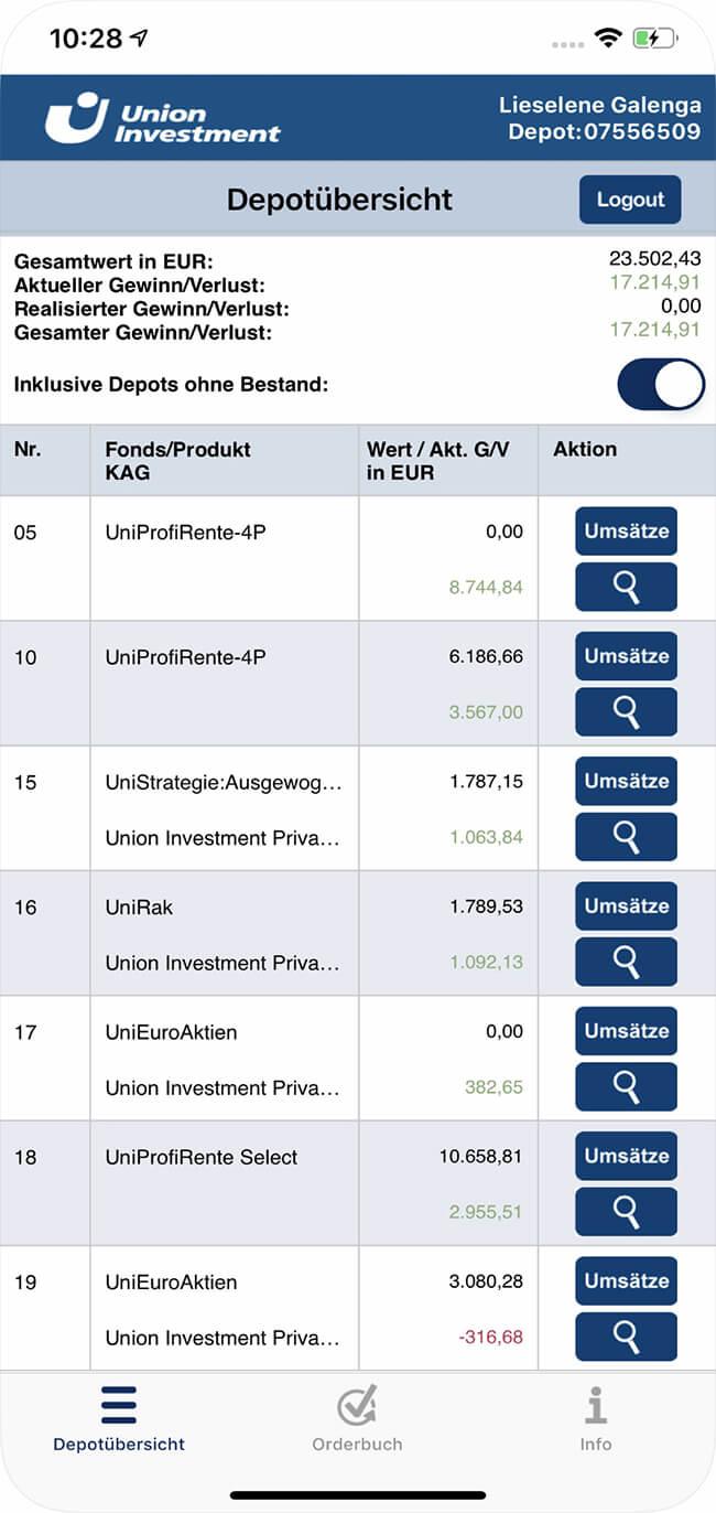Screenshot Union Investment App, Depotübersicht