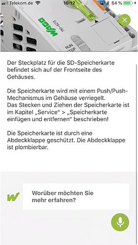 Screenshot WAGO Augmented Reality-App, Beschreibung Steckplatz für SD-Speicherkarte
