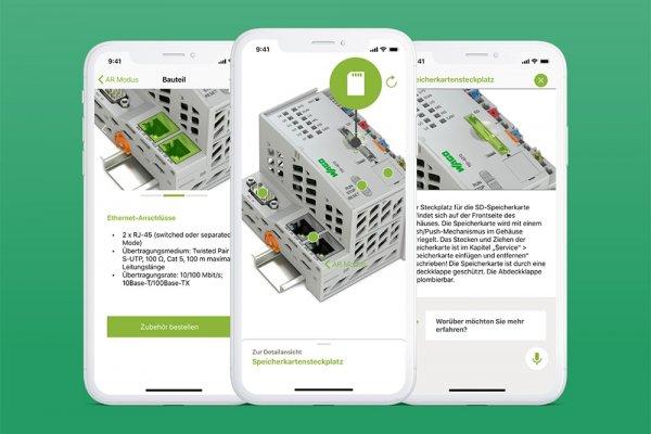 3 Smartphone Screenshots der WAGO Augmented Reality-App zeigen den Controller und Markierungen für die Detailansicht und Erklärungen