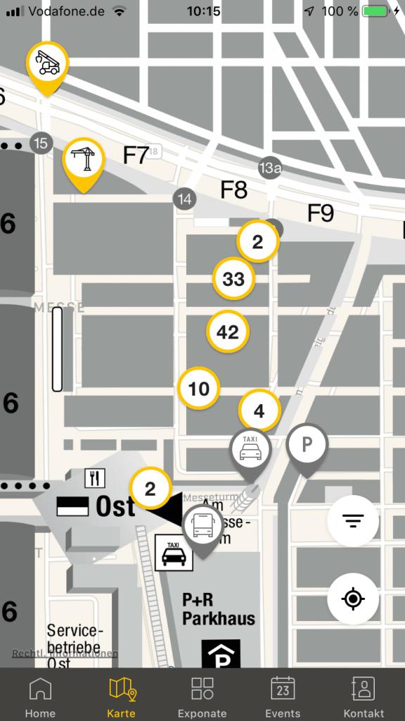 Screenshot bauma-App, Lageplan