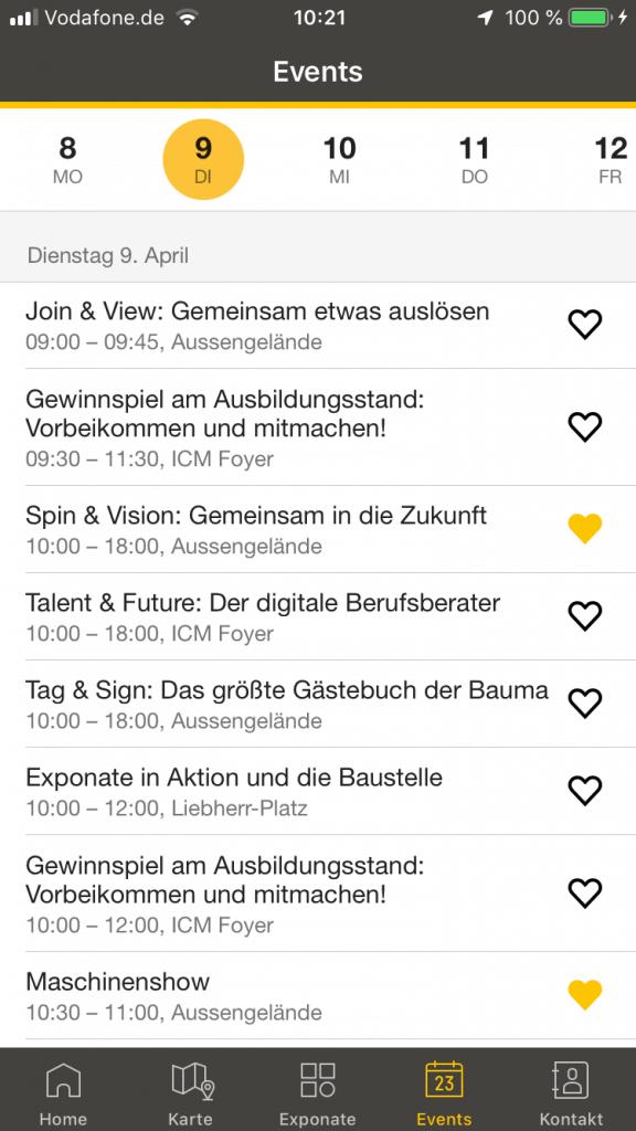 Screenshot bauma-App, Events