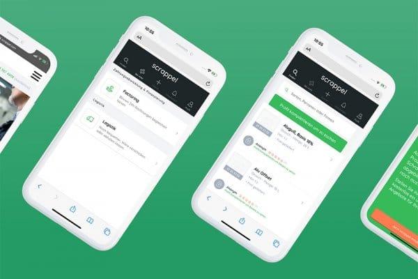 2 vollständig zu sehende und 2 abgeschnittene Screenshots der scrappel B2B-Metallrecycling-App, Profil und Services