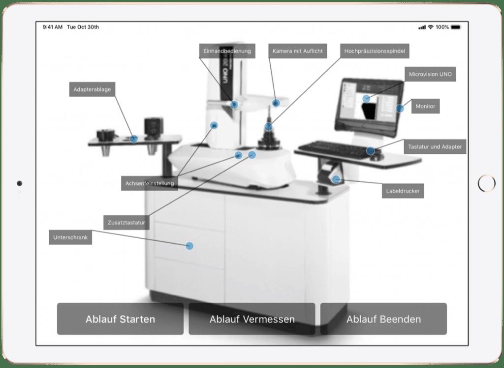 Screenshot ZF Friedrichshafen AG – AR-App, Werkzeugvoreinstellgerät mit Beschriftung der Komponenten