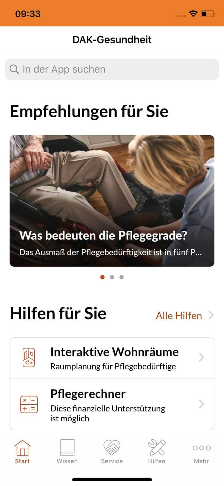 Screenshot DAK Pflege-App, Empfehlungen
