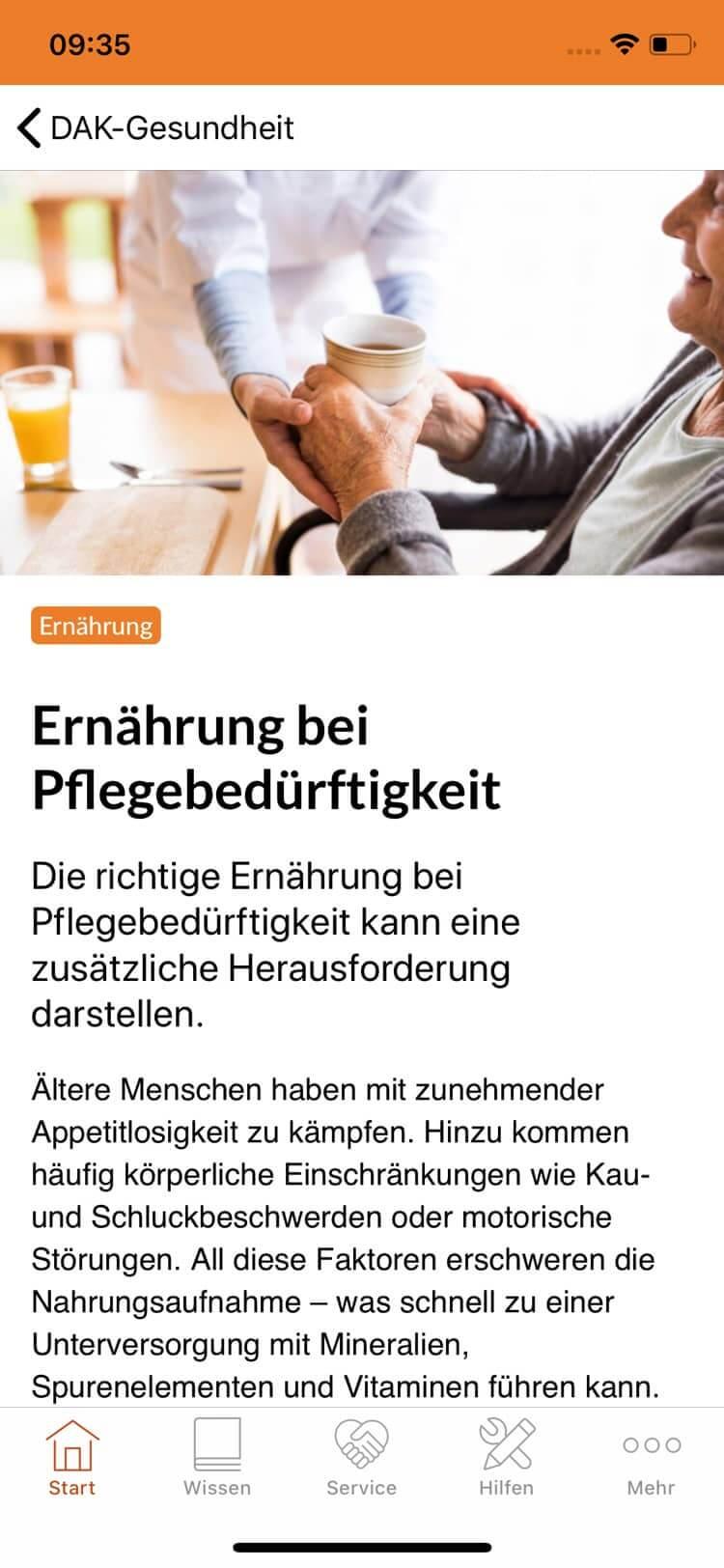 Screenshot DAK Pflege-App, Artikel über Ernährung bei Pflegebedürftigkeit