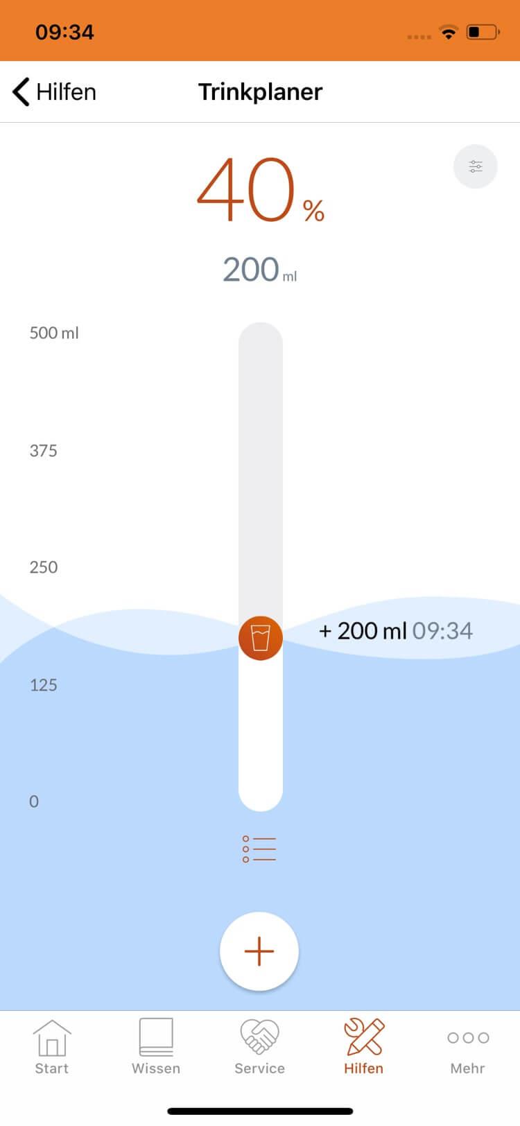 Screenshot DAK Pflege-App, Trinkplaner