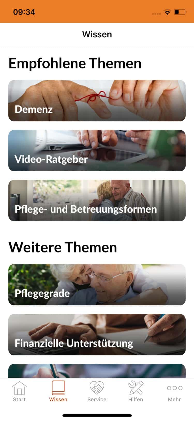 Screenshot DAK Pflege-App, Empfohlene Themen