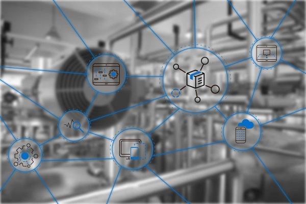 Verschiedene Icons blau umkreist vor Industriehintergrund verdeutlichen Impulse des Mobile Business