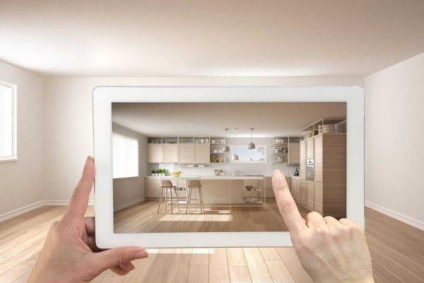 Person nutzt Interaktives Produkttesting mit einer iPad-Raumplanungsapp