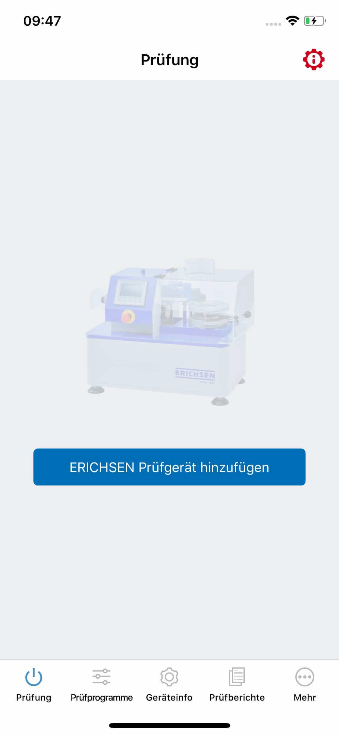 Screenshot ERICHSEN – Ritzhärteprüfgeraet-App, Prüfung