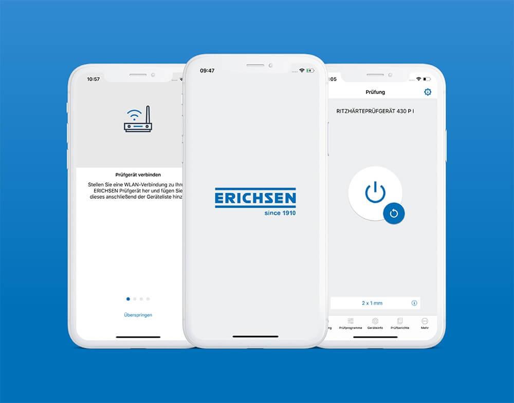3 Smartphone Screenshots der Erichsen Ritzhaertepruefgeraet-App zeigen die Prüfung und Konfiguration der Geräte