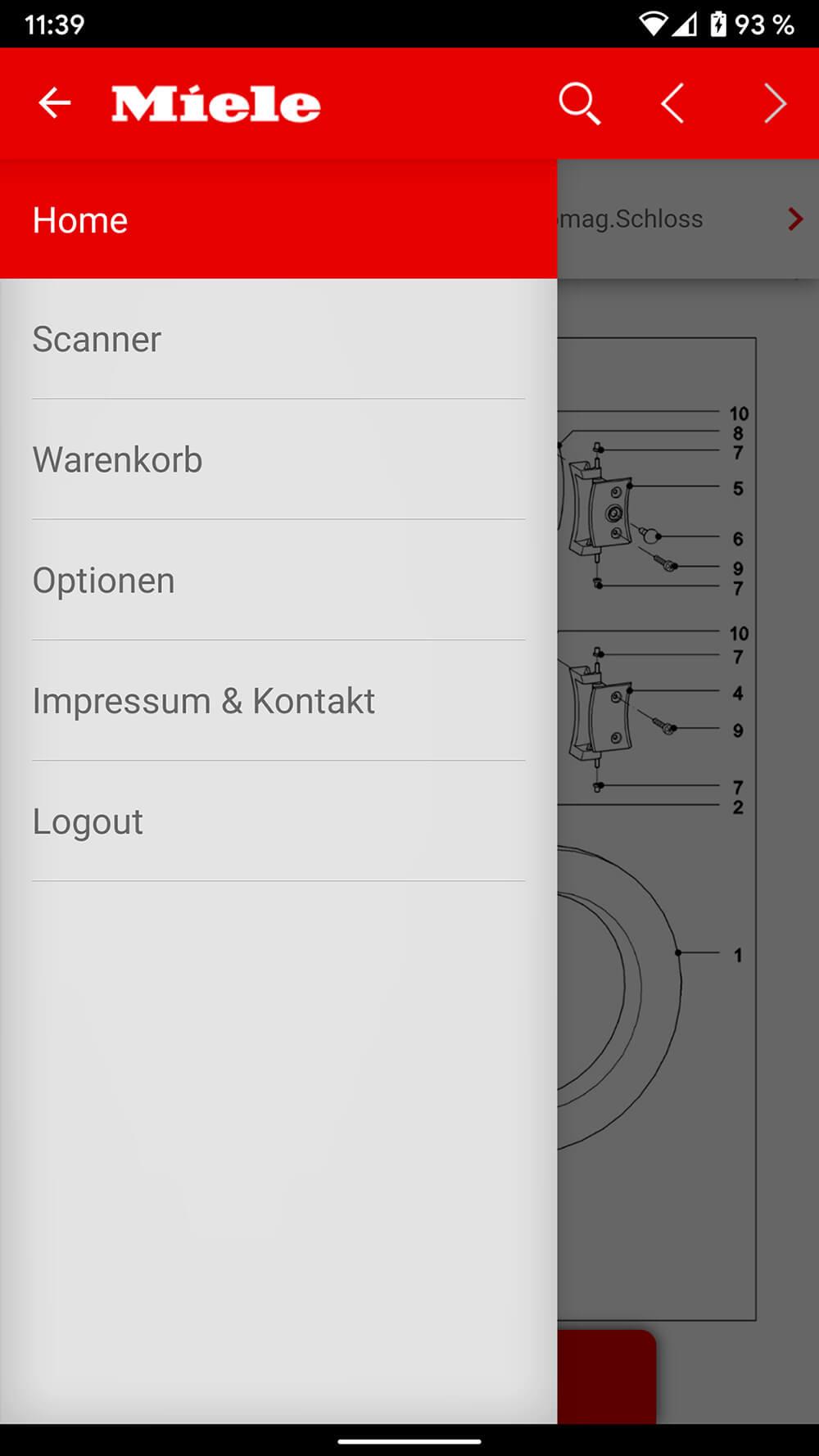Screenshot Miele ETD-App, Hauptmenü