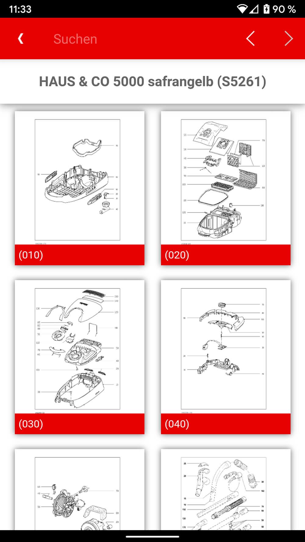 Screenshot Miele ETD-App, 6 Abbildungen von Geräteskizzen mit Nummerierungen