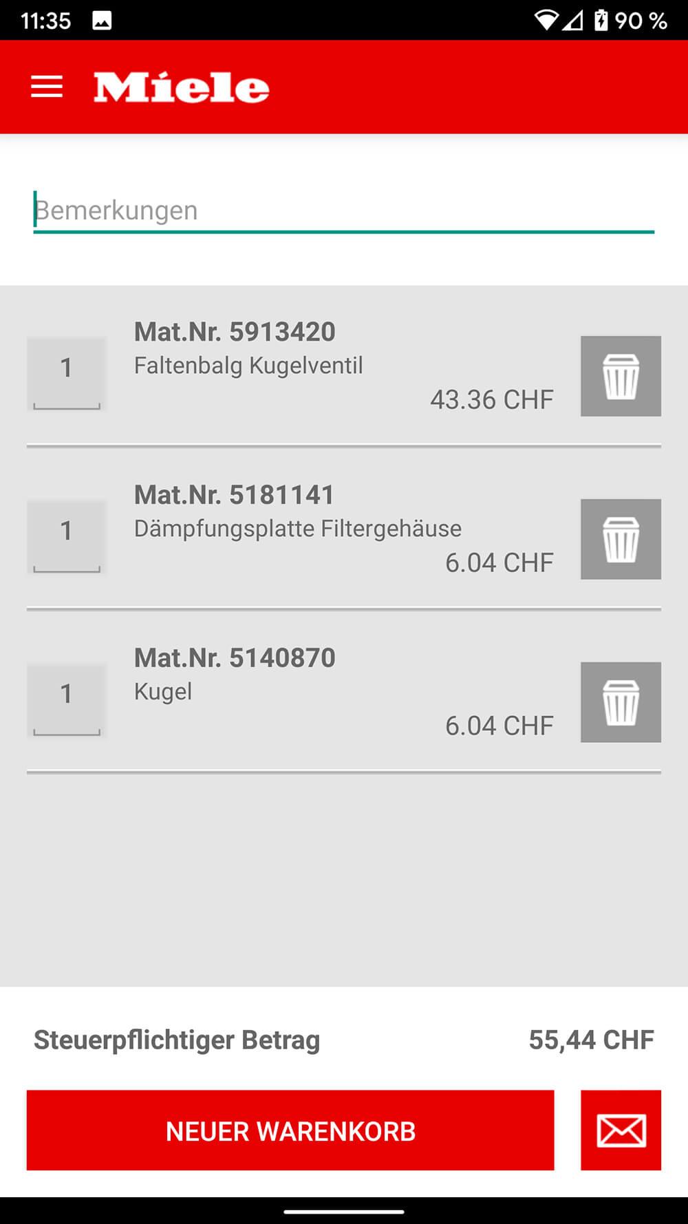 Screenshot Miele ETD-App, Auflistung Ersatzteile inklusive Preis