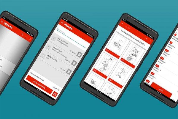 4 Smartphone Screenshots der Miele ETD App zeigen Ersatzteillisten und Details der Ersatzteile