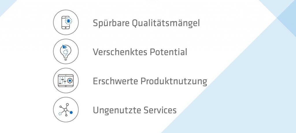 Grafik Problem-Apps Herausforderungen mit den Punkten Spürbare Qualitätsmängel, Verschenktes Potential, Erschwerte Produktnutzung, Ungenutzte Services