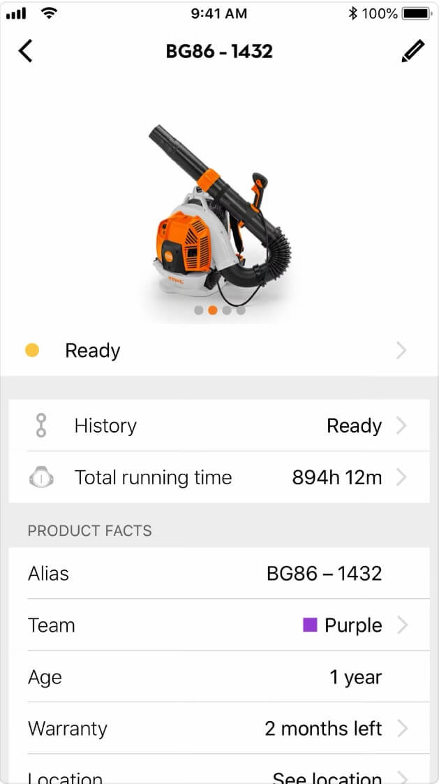 Screenshot STIHL-App Detailpage Produkt