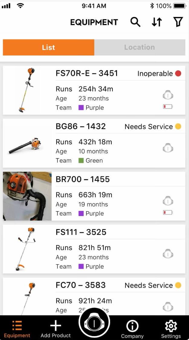 Screenshot STIHL-App Equipment Liste